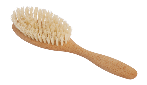 wooden hairbrush with tampico fibre bristles