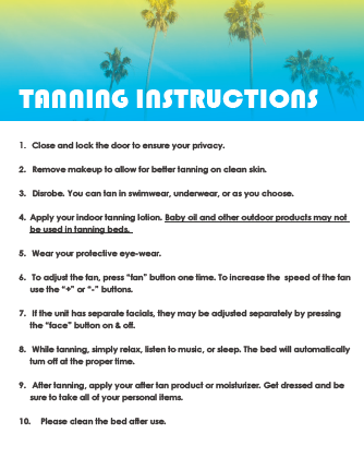 Tanning Instructions Sign