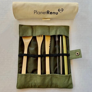 bamboo cutlery set with straw and cleaner