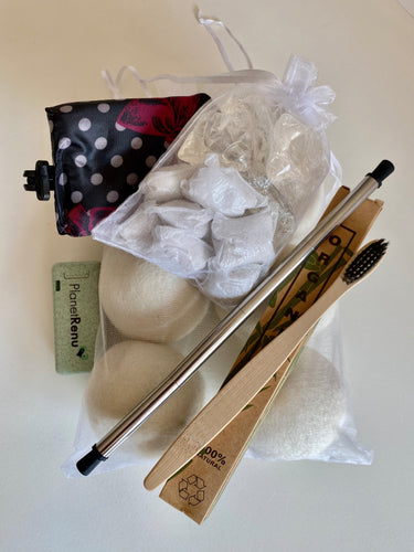 College gift set, eco gift set, wool dryer balls, bamboo toothbrush, Dropps laundry deterrent, collapsible straw