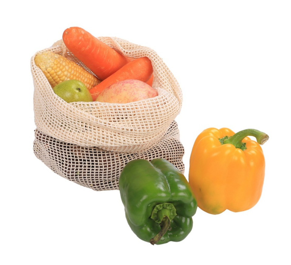 Organic Cotton Reusable Produce Mesh Bags- Set of 5