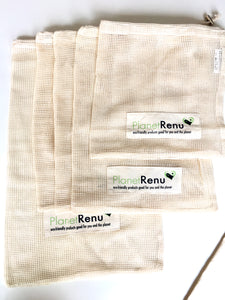 Organic Cotton Reusable Produce Mesh Bags- Sets of 3 & 5