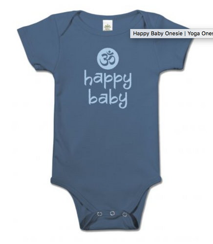 Happy Baby Onesie, organic cotton, made in the use, om symbol, onesie