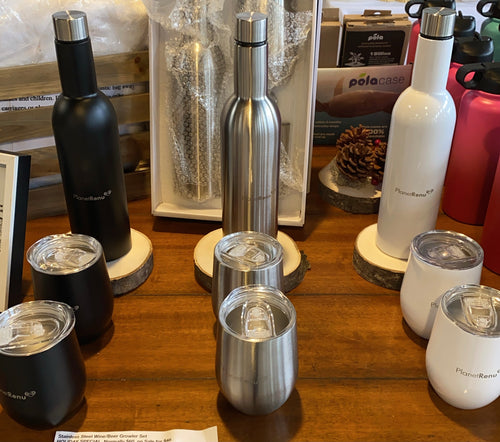 Stainless Steel Growler Set, flask and mugs