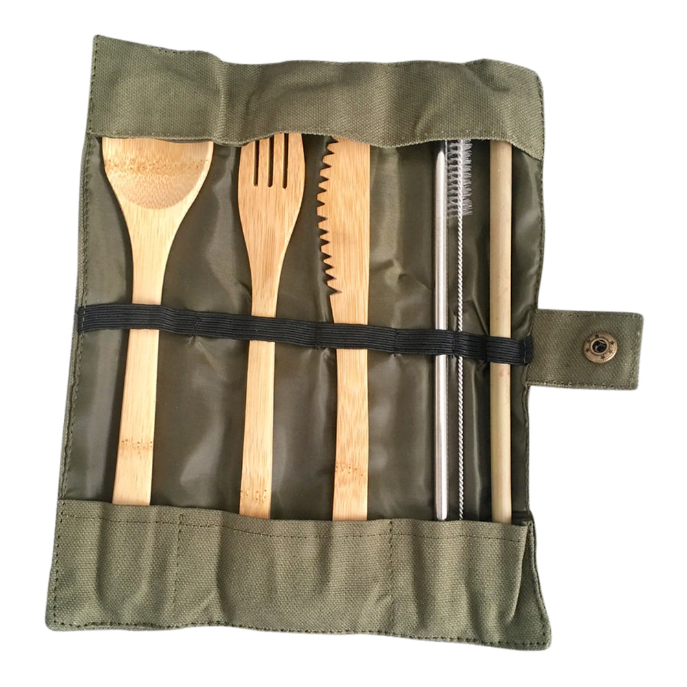 Bamboo Cutlery Set with Bamboo Straw, Stainless Steel Straw + Cleaning Brush