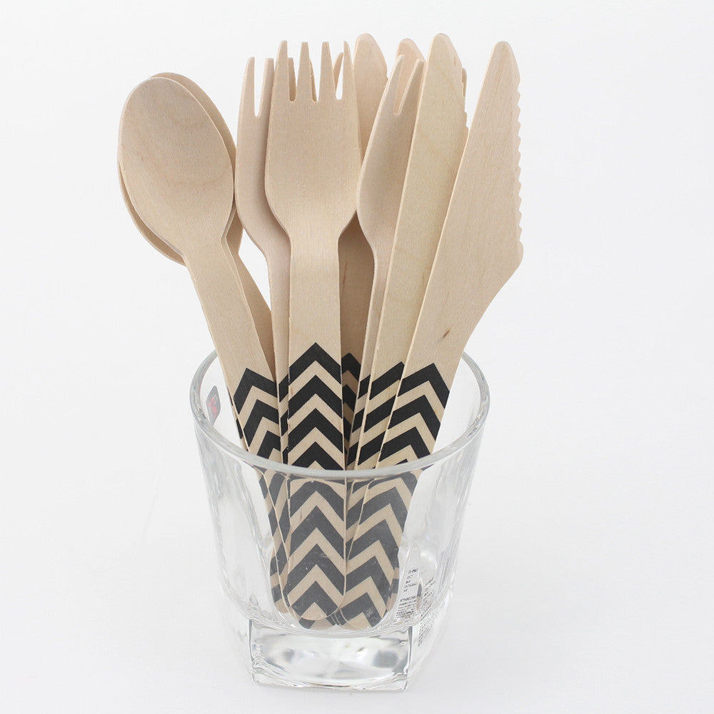 144pc Wooden Natural Birchwood Cutlery Set- Chevron Design