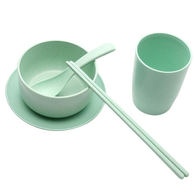 5pc Wheat Straw Tableware Set