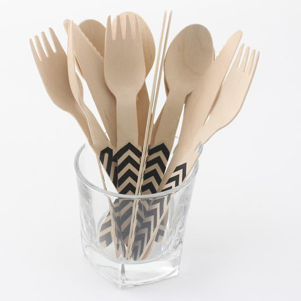 60 pc Chevron Design Disposable Wooden Cutlery