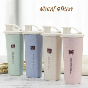 15 oz (450ml) Wheat Straw Reusable Water Bottle with Lid