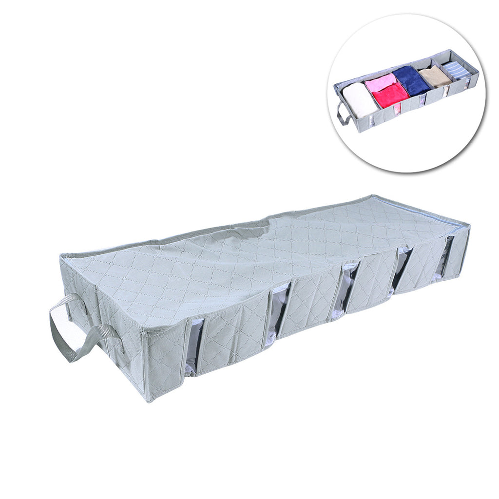 Grey Foldable Bamboo Charcoal Clothes Storage Organizer Bag