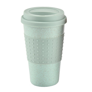 12oz Wheat straw Reusable Drinking Mug with Silicone Lid