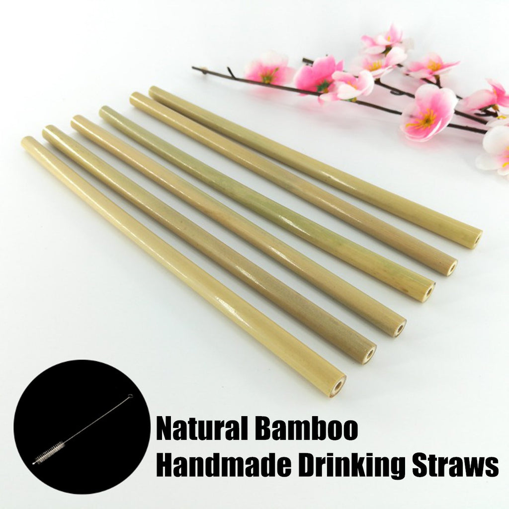 6pc Reusable Bamboo Straws With Cleaning Brush