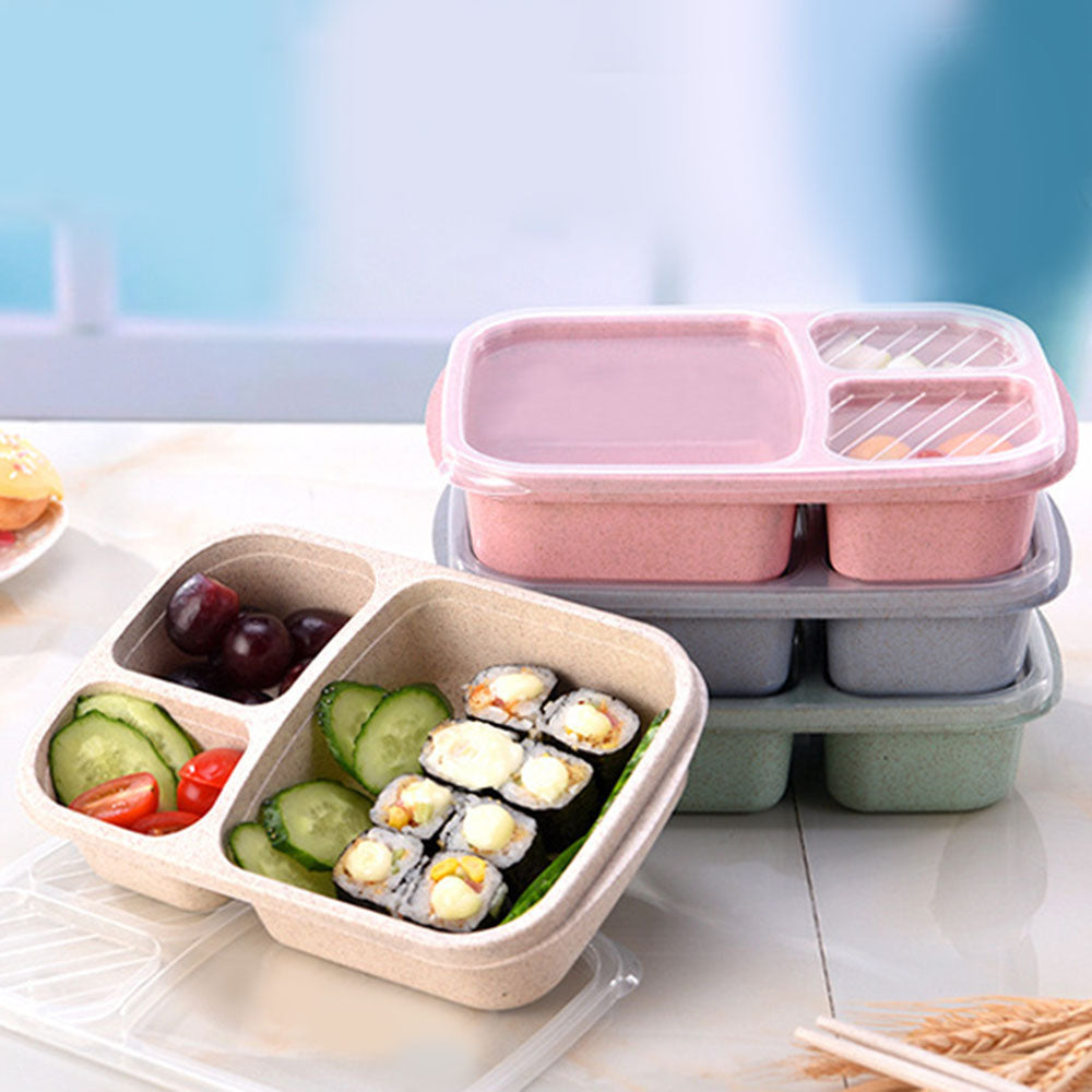 Portable Reusable Wheat Straw Lunch Box - 3 compartments