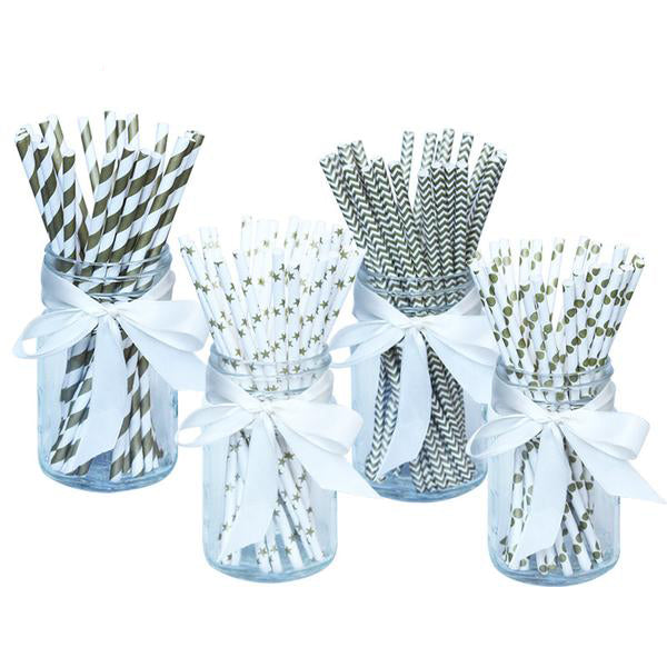100pc Paper Drinking Straws- Fun Patterns