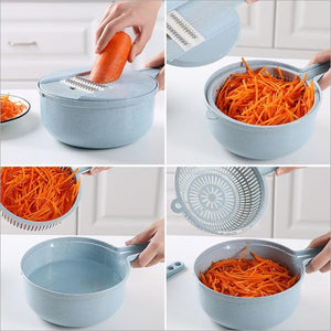 Multi-functional Wheat Straw Circular Grater with Strainer and Bowl
