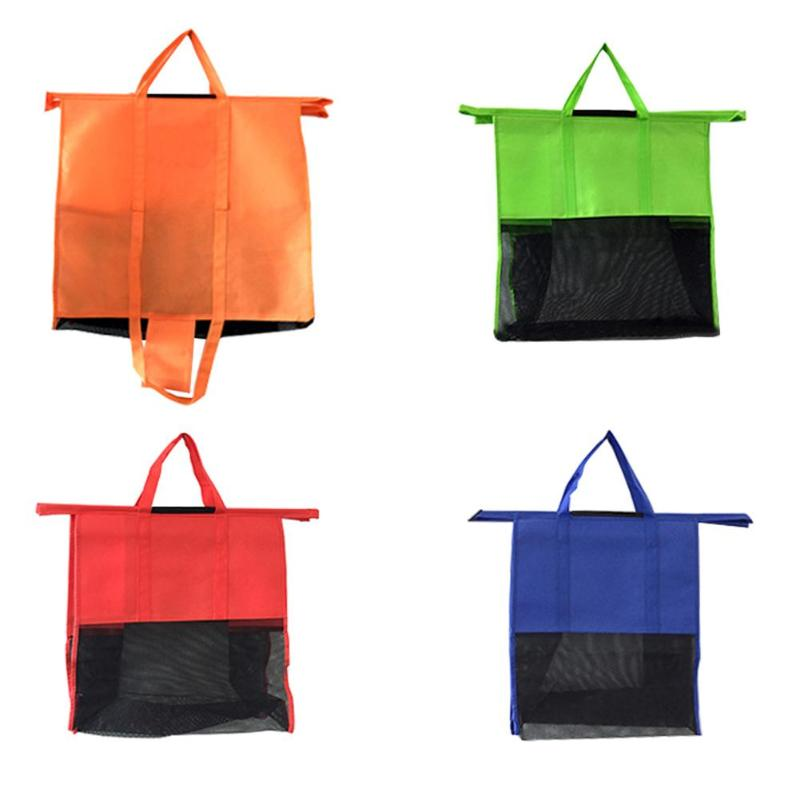 4pcs/Set Thicken Cart Trolley Supermarket Shopping Storage Bags Foldable Reusable Eco-Friendly Shop Handbag Totes Home Storage