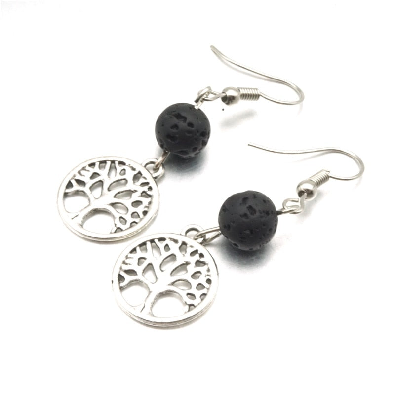 Tree of Life & Black Lava Stone Earrings