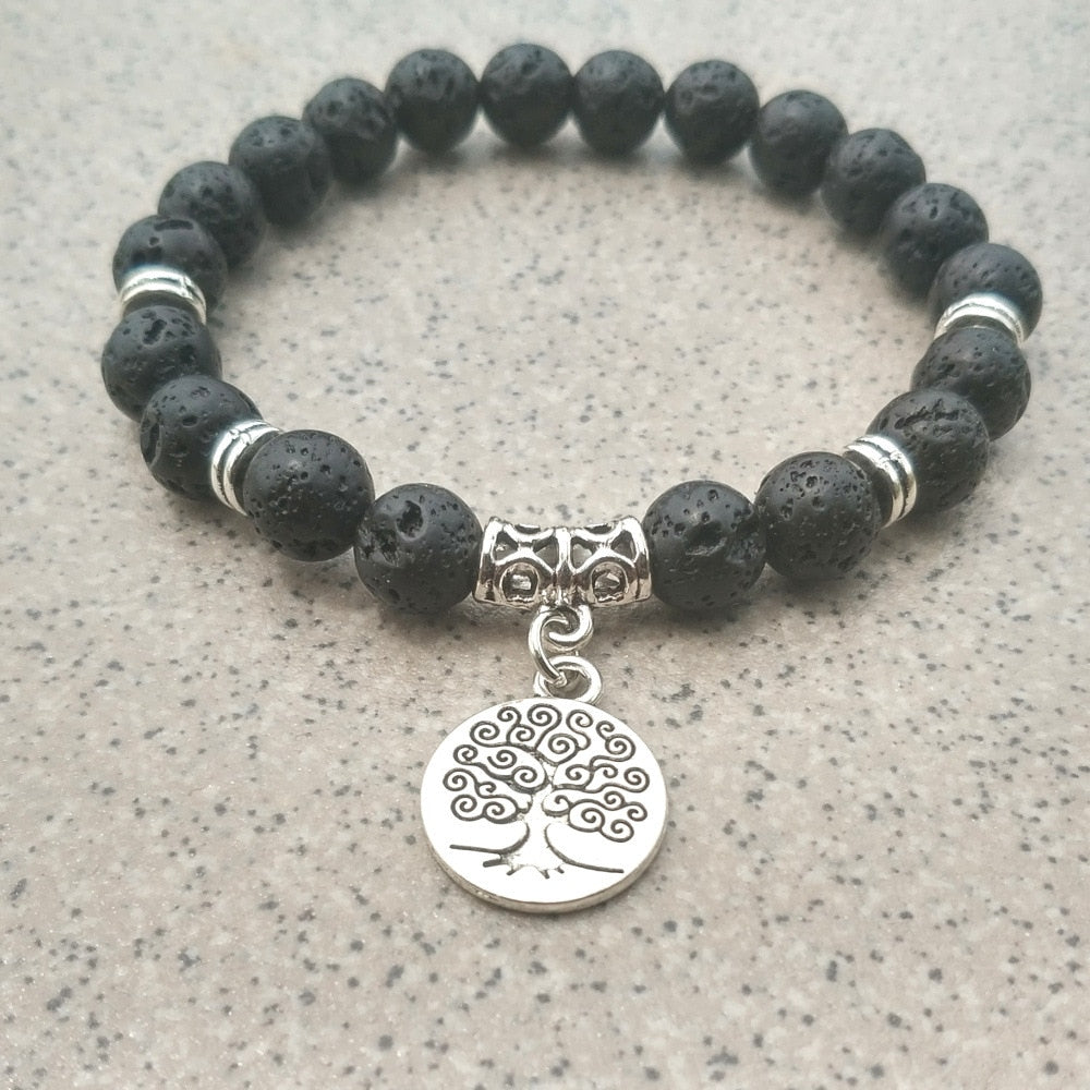 Black Lava Bracelets with Charms