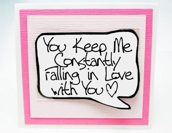 constantly in love card. anniversary card for her. pink note card.