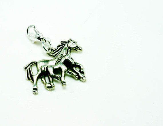 silver horse lover charm