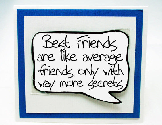 funny birthday card for best friends. best friend blue note card.