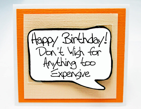 humorous birthday note card. funny card for birthdays