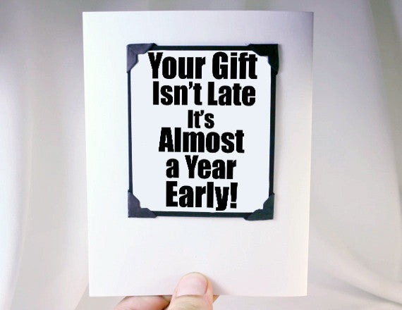 early gift greeting card and magnet