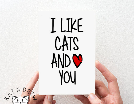 I Like Cats And You Card.  PGC105