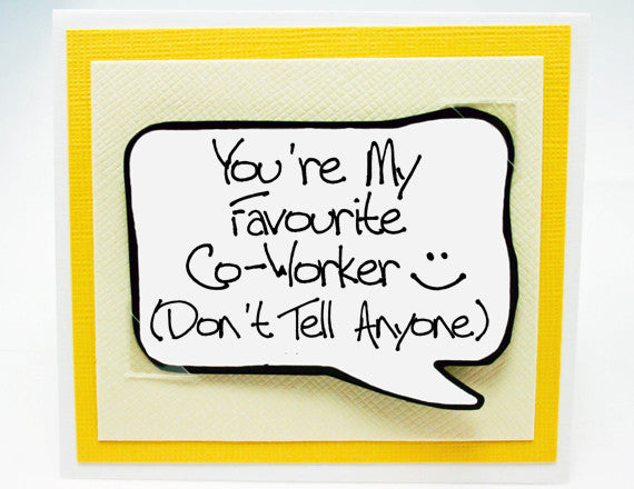funny co-worker card. co worker friend birthday card. yellow note card.