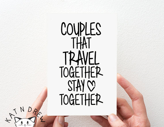 travel card. couples card. anniversary card. card for him. card for her.