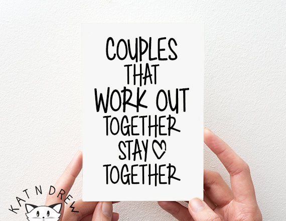 gym card. work out card. fitness card. couples card