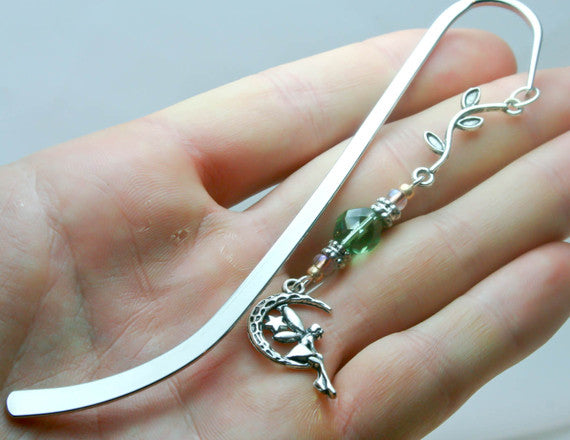 fairy bookmark silver bookmark with charm