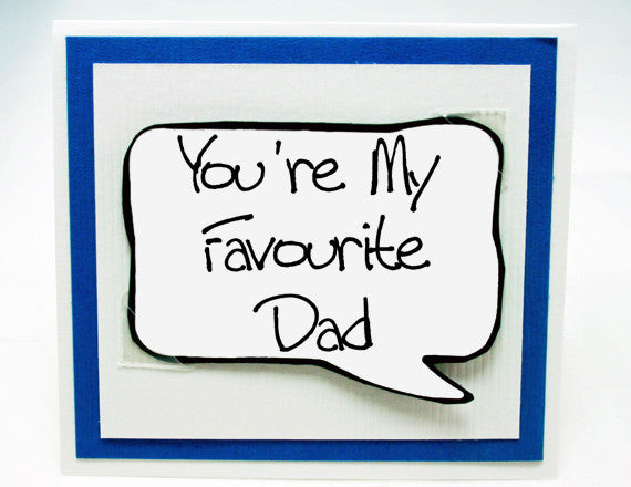 fathers day card. fun card for dad on fathers day. blue note card.