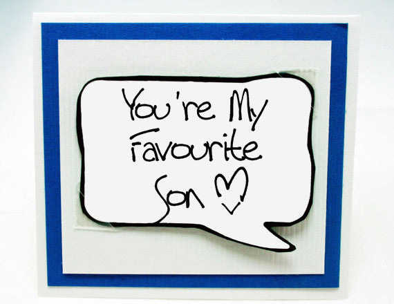 Favourite Son Card Cute Birthday For Kids Blue Note
