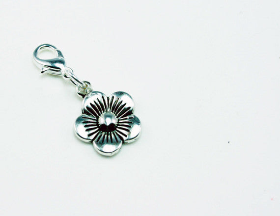 silver flower girl clip on charm