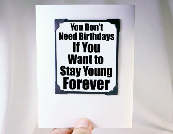 stay young at heart late birthday card with magnet