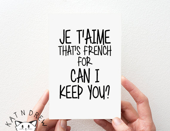 French For Can I Keep You Card.  PGC040