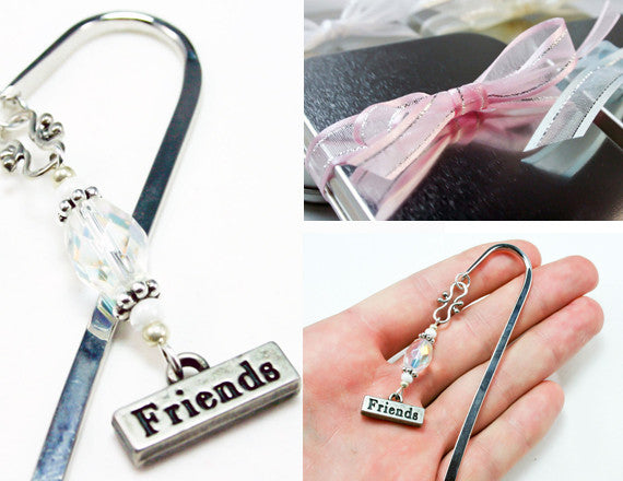 beaded friends silver bookmark