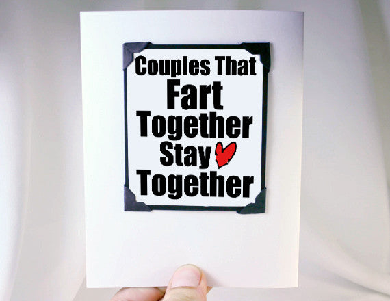 cute fart quote for couples for valentines day card