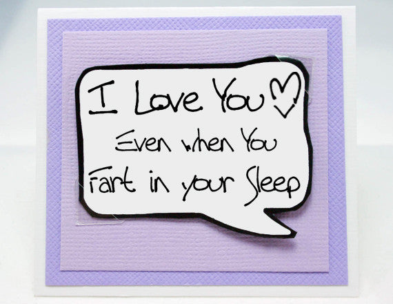 couples valentines day card. fart in your sleep card. purple note card.