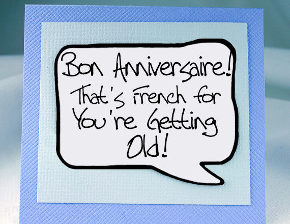Birthday Card Funny Quote In French With Magnet Speech Bubble Kat