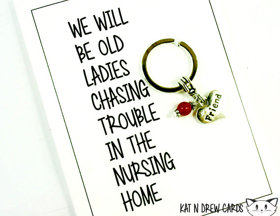 Old Ladies Chasing Trouble Card.  KEY041