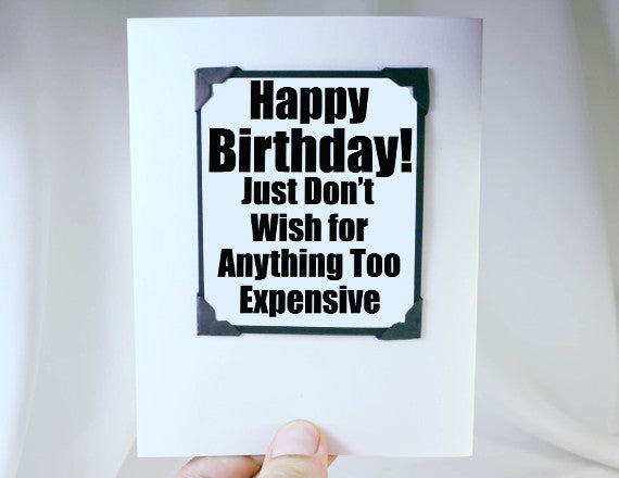 funny birthday quote as card and magnet gift
