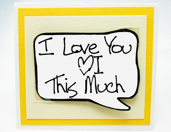 love you more and more anniversary note card. yellow note card.