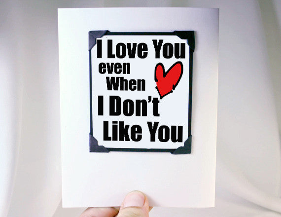 love you funny valentines greeting card