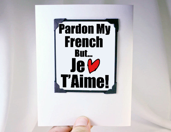 valentine greeting card fun quote in french with magnet