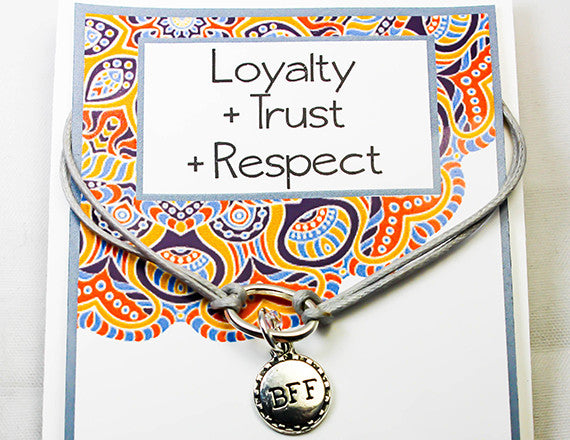 trust and respect friend charm bracelet