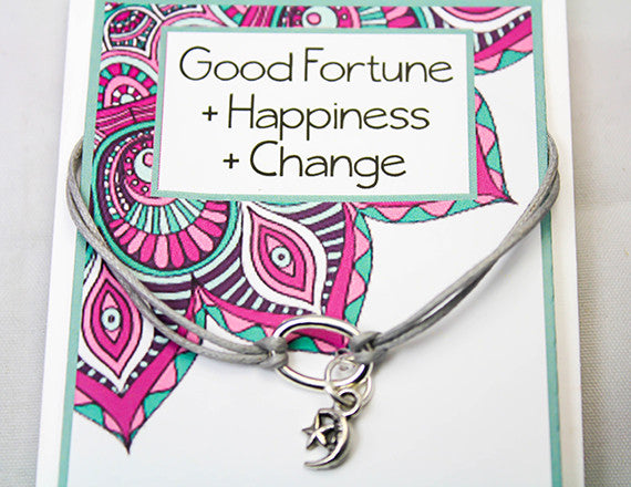 Moon and Star Charm Bracelet for Happiness and Change - INT046