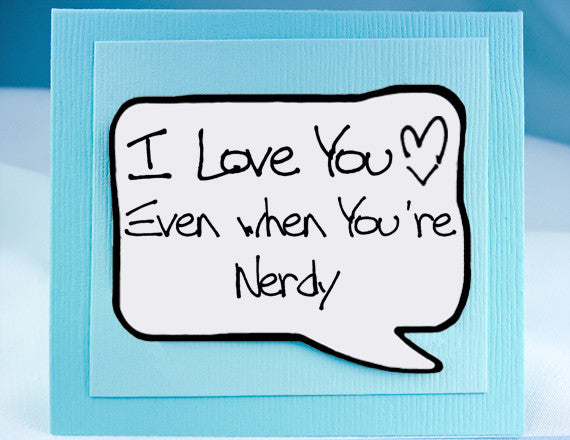 nerdy love you card funny anniversary card and magnet