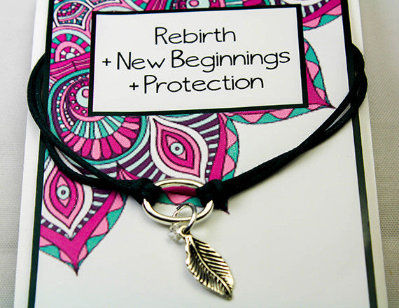feather charm bracelet for rebirth and protection